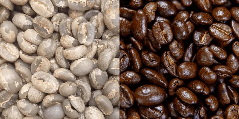 焙煎前のコーヒー生豆と焙煎したコーヒー豆