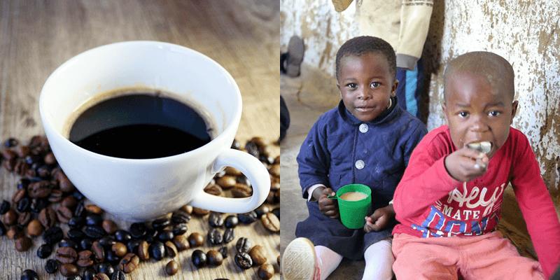 マラウイコーヒーと給食を食べるマラウイの子どもたち